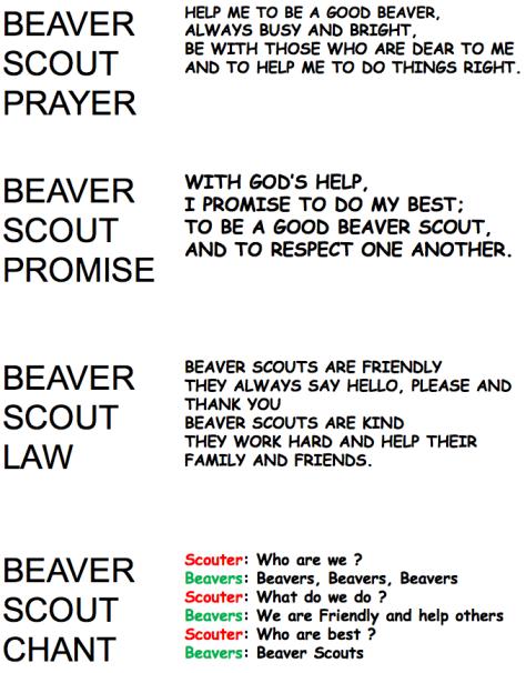 Beaver Prayer, Promise, etc