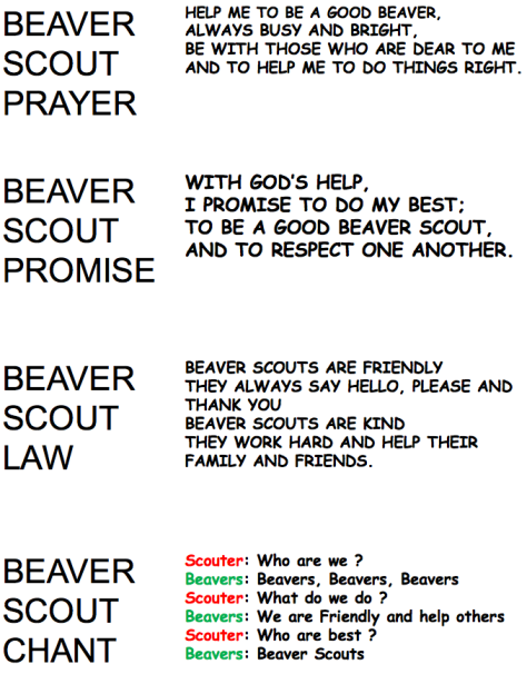 Beaver Prayer, Promise, etc